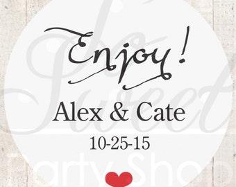 Wedding Favor Stickers (Enjoy) - Bridal Shower Thank You Stickers - Favor Sticker Labels - Birthday Favor Stickers - Set of 24