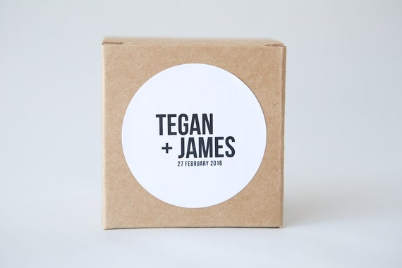 Personalised 60mm Round stickers | Labels, Custom Design, Names, Wedding, Engagement, Party, Minimalist, Typography, Modern, Monochrome