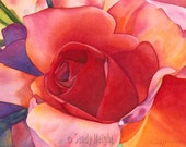 Giclee Print of a Watercolor Painting, red, rose, art, archival, home decor, wall art, bouquet, close up, flower, floral, unframed, gift, 2d