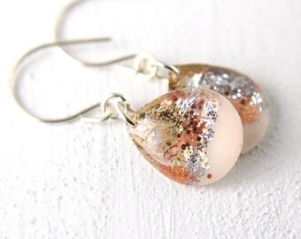 tear drop earrings with silver, gold, and copper leaf, resin earrings, glitter earrings, sterling silver earrings, nickel free drop earrings