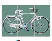 New Orleans Street Map Bicycle Triptych Canvas Giclee - Retro Teal