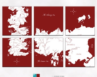 Game Of Thrones Known World Map Canvas Giclee 6 Panel- Red Brown and White