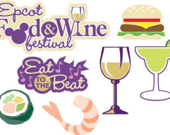 Digital SVG/JPG Epcot Food and Wine Festival die cuts