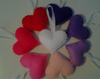 8 Felt Heart Ornaments Valentine Decorations
