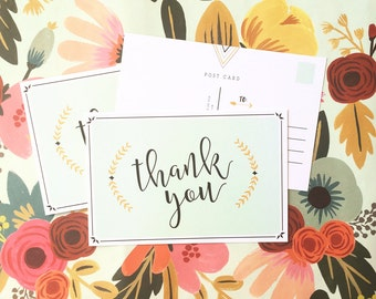 Minty Thank you postcards - 4x6, set of 10