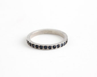 Vintage Art Deco Sterling Silver Simulated Sapphire Ring - Size 6 3/4 Eternity Wedding Band Style Blue Glass Stone Eternity Stacking Jewelry