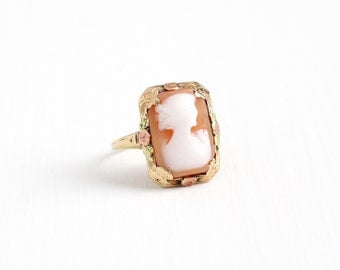 Sale - Vintage 10k Rose, Yellow, & Green Gold Cameo Ring - Size 5 1/4 Vintage 1930s Art Deco Carved Shell Fine Woman Flower Jewelry