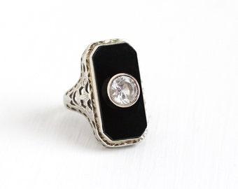 Antique Art Deco 14K White Gold Onyx Created White Spinel Ring - Vintage 1920s Size 3 3/4 Filigree Black Gem Statement Fine Jewelry