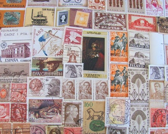 Shades of Brown 100 Vintage Brown Postage Stamps Rust Copper Chocolate Bark Coffee Tan Natural Beige Scrapbooking US Worldwide Philately 2