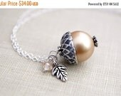 14OFFSALE Necklace, Silver Necklace, Acorn Necklace, Pearl Necklace, Swarovski, Vintage Pearl, No. ANAS010