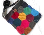 One of a Kind Bright Crossbody Bag, Handmade by Barefoot Modiste, Large bag,  Cheerful Patchwork Corduroy Bag, Unique Bohemian Wear