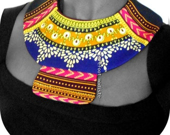 Striking African Bib necklace, Handmade fabric neckwear, One of a Kind Tribal Patchwork Collar, B Modiste, Unique statement piece, One size