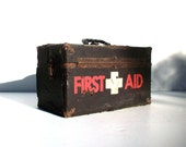 Vintage First Aid Box / Seriously Distressed Marginal Condition / Photo Prop / Halloween Prop / Medical Storage Box / Display Prop