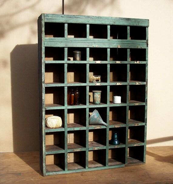 Vintage Primitive Farm Cubby Cabinet / Mail Sorter