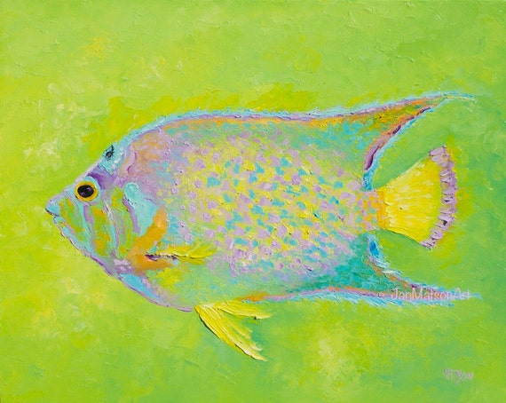 Fish painting canvas art aquarium fish beach house decor for Aquarium decoration paint