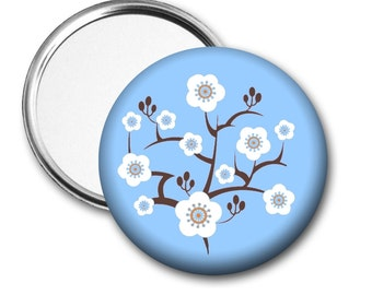 Modern Cherry Blossom Pocket Mirror - 3 color choices