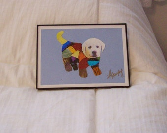 """Real  Butterfly Wings Framed  """" Adorable Puppy """"  Collage"""