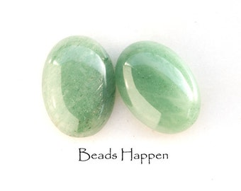 18x13mm Aventurine Natural Stone Oval Cabochons, Natural Aventurine, Green Stone, Green Cabochons Cabs, Stone Cabs, Quantity 2