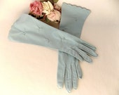 1950s Mid Length Blue Gloves Hand Sewn & Embroidered