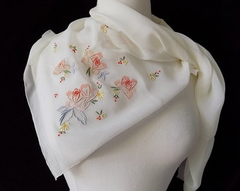 Vintage Silk Chiffon Scarf in White with Rose Embroidery