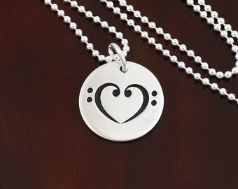 Love Notes II - Music Lover's Heart Necklace  -  Bass Clef Heart  -  Sterling Silver