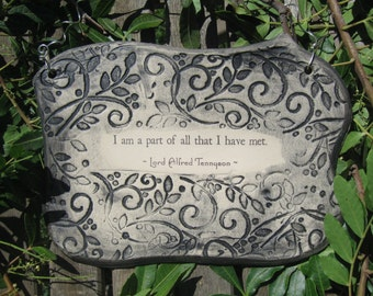Lord Alfred Tennyson Inspirational Quote Ceramic Plaque