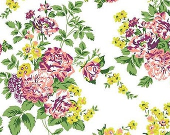 Chartreuse Purple Floral on White Stretch Twill Fabric
