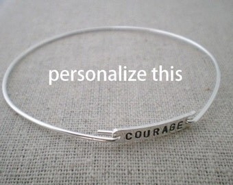 stamped word bangle, sterling silver stacking bracelet, inspirational bracelet, hand stamped sterling silver jewelry, push present
