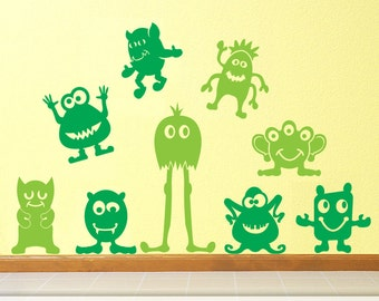 Nine Big Little Green Men Vinyl Wall Decals: Goofy Alien Wall Art Monsters for Kids Room Decor, Kids Playroom Decor
