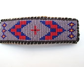 Native American Wetlands Style Beaded Barrette Hair Clip on Brown Leather