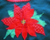 Poincettia Christmas Apron hostess holidays