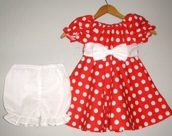 Minnie Mouse costume Red  polka dot dress with   WHITE panty  (available in sizes  12 months , 2t,3t,4t,5t