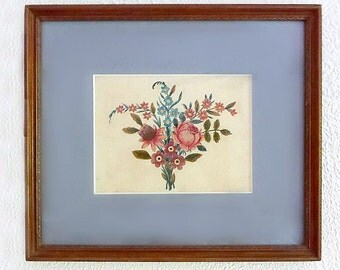 18th Century Watercolor on Silk Collage, Framed, Hand-Painted