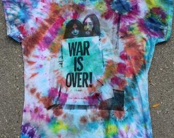 War is over! John Lennon tie dye T shirt Women's XL