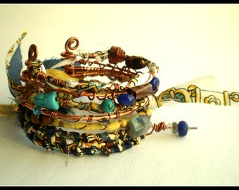 Gypsy Bohemian Inspired Rustic Copper Stack Bangles Wrapped in Fabric and Gemstones