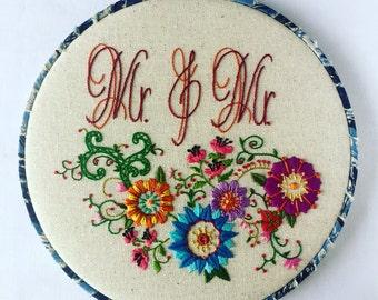 Mr. & Mr. Love Wins Hand Embroidered Hoop Art