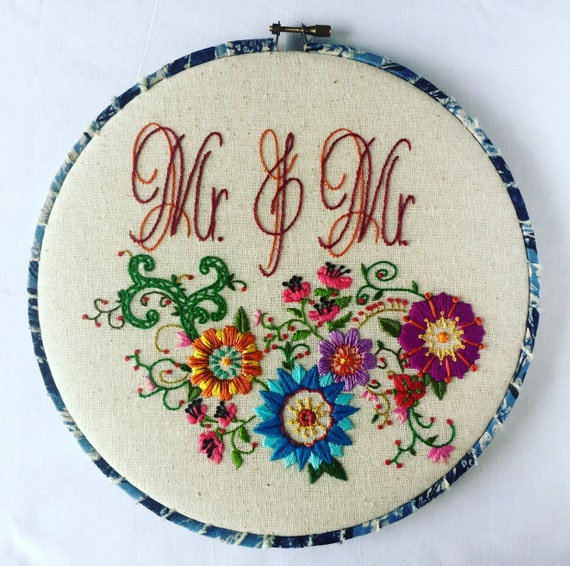 Mr. & Mr. Love Wins Hand Embroidered Hoop Art