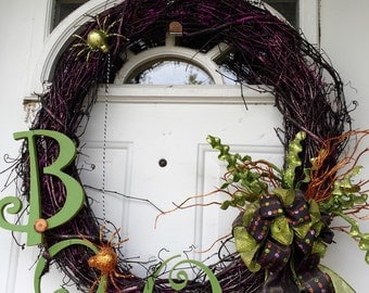 GrapeVine HalloWeen Boo Wreath with Spiders