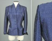 LILLI ANN 1950s jacket • blue sharkskin nipped waist new look jacket