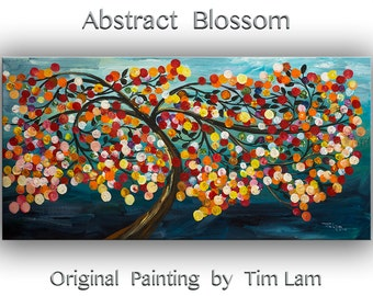 Oil Painting -- Blooming Cherry art, Large abstract Tree art WALL art , texture wall painting canvas art --- by Tim Lam. Size: 48 x 24