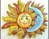 Metal Wall Art Sun, Painted Metal Wall Hanging, Sun - Moon - Metal Art, Metal Art Design, Haitian Art, Garden - Metal Wall Art  - J-150