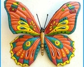 """Metal Art Butterfly 29"""" x 36"""" - Large Butterfly Painted Metal Wall Hanging, Whimsical Metal Art Design, Metal Garden Wall Art,- J-903-OR-36"""