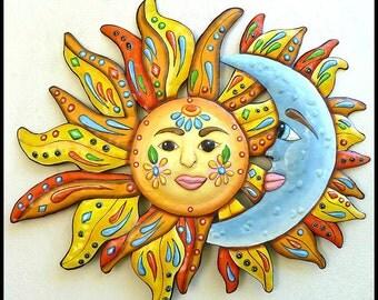 """Metal Wall Art, Garden Art, 34"""" Painted Metal Wall Hanging, Garden Metal Art, Sun - Moon - Metal Art, Outdoor Garden Decor - J-150-34"""