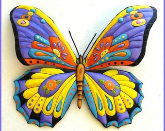 Painted Metal Butterfly Metal Wall Art, Whimsical Art Design, Tropical Colors, Funky Art Wall Hanging, Metal Art, Patio Decor - J-903-PU-YL