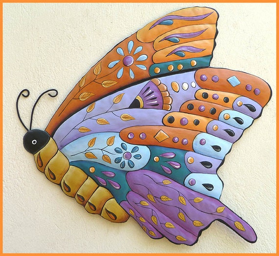 Painted Metal Butterfly Wall Decor Garden Wall Art Metal
