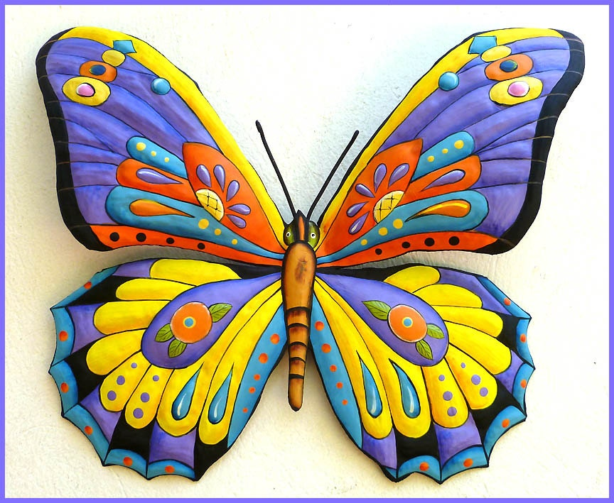 painted metal butterfly metal wall art outdoor metal art. Black Bedroom Furniture Sets. Home Design Ideas