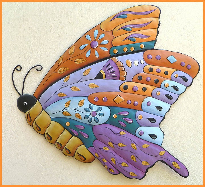 painted metal butterfly wall decor garden wall art metal. Black Bedroom Furniture Sets. Home Design Ideas