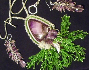 Chevron Amethyst Pendant Necklace in Sterling with Amethyst Flowers