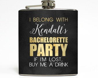 Bachelorette Party Flask Personalized Black Gold Buy Me A Drink Maid of Honor Bridesmaid Gifts Stainless Steel 6 oz Liquor Hip Flask LC-1607