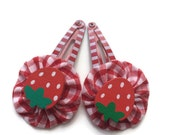 Strawberry Red Gingham Fabric Hair Clips